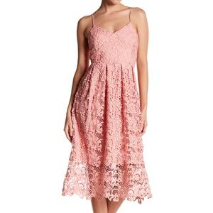 Meghan LA Topanga Lace Midi Dress Pink Size Medium